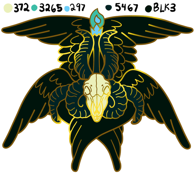 Make 100 Baphomet-seraphim hard enamel pins by Lillian Endo