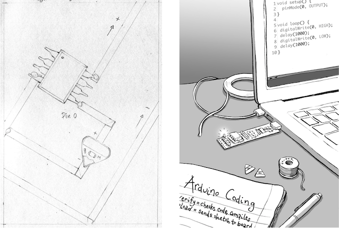 Initial sketch for the Book 2 Program Your Pages activity - ATtiny85, circuit sticker, copper tape, notebook. Arduino sketch, TINY AVR Programmer, ATtiny85, final image