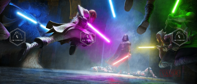 Mace and other Jedi attack Vader.