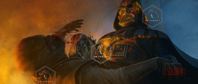 Vader and Mace fight hand-to-hand.