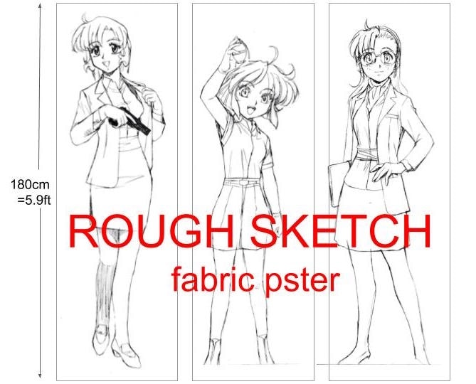 Three types of Fabric Posters rough sketch.