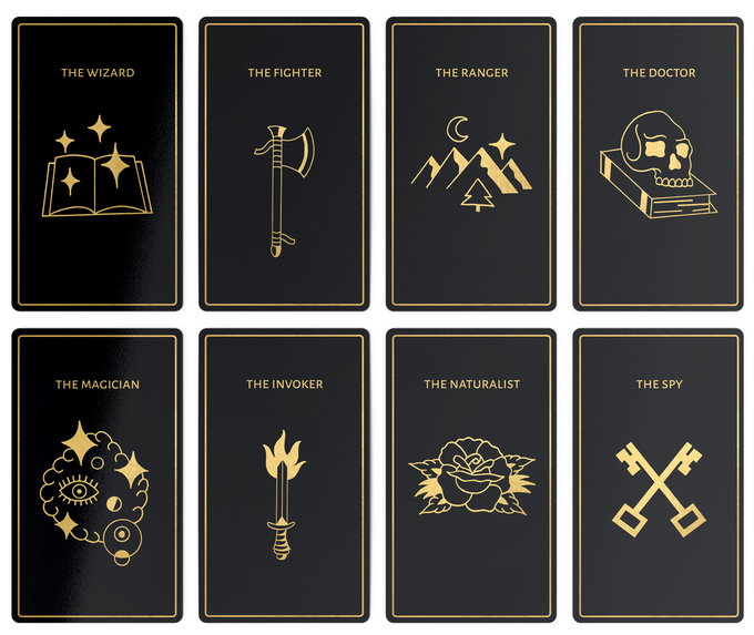 Essential Deck cards showing Quest's 8 hero roles