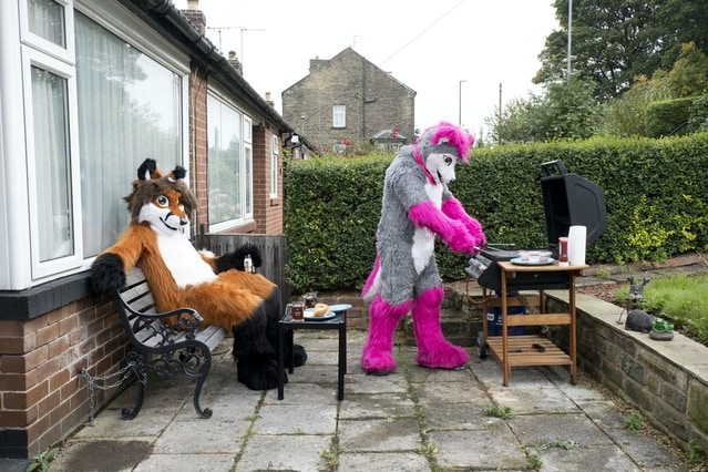 Syrrus, a fox and Lupestripe, a wolf having a barbecue in Leeds, 2017