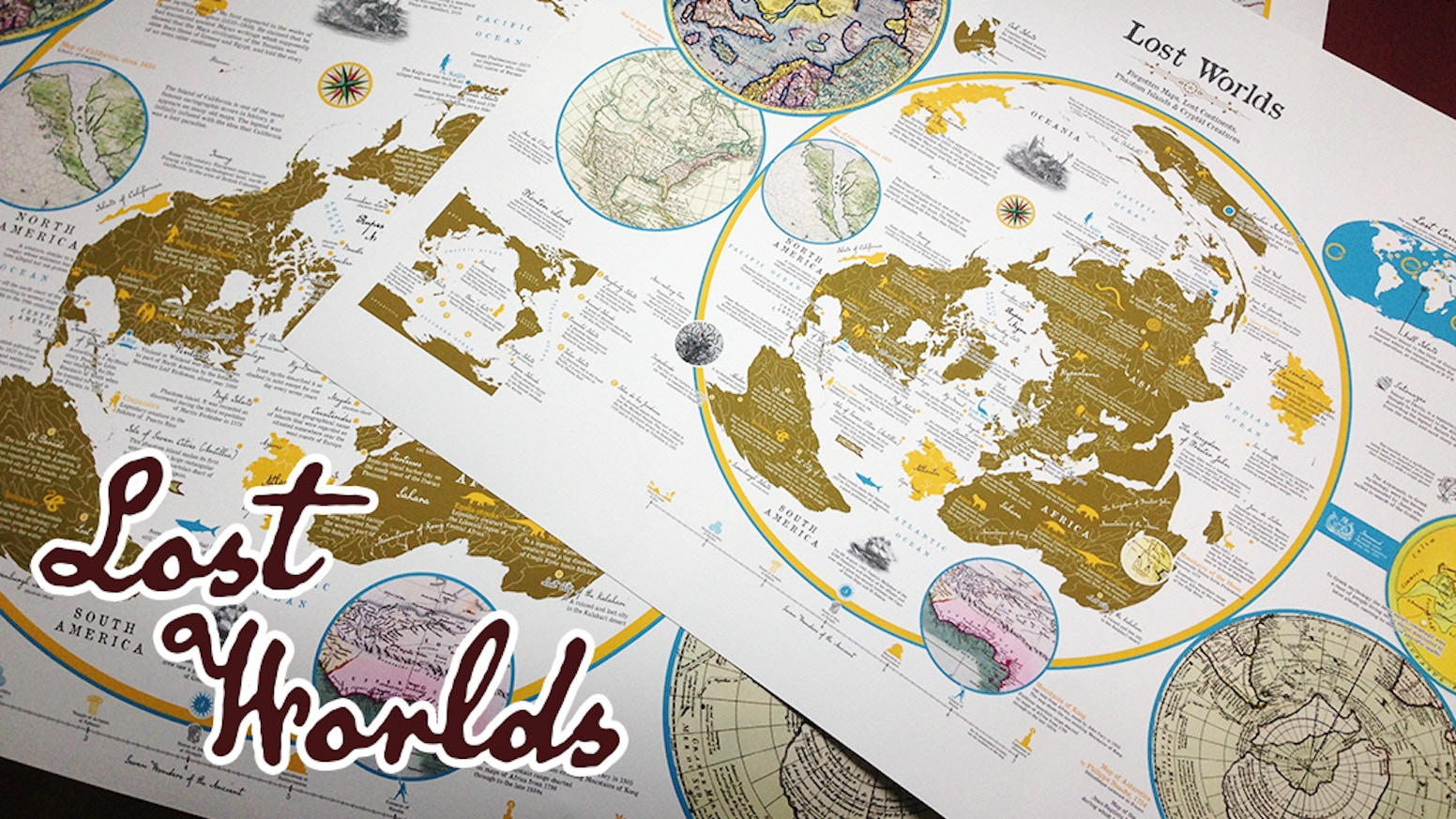 An amazing fantasy map of lost continents, phantom islands and mythical creatures