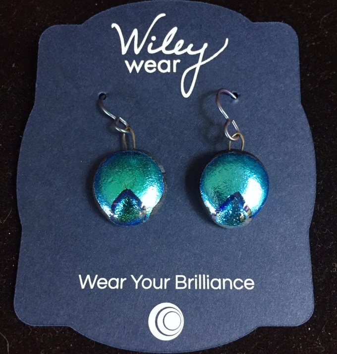 Beautiful Handmade Glass Earrings in Miss Direction Checker Cab Signature Blue! Yours for a generous contribution of $44.