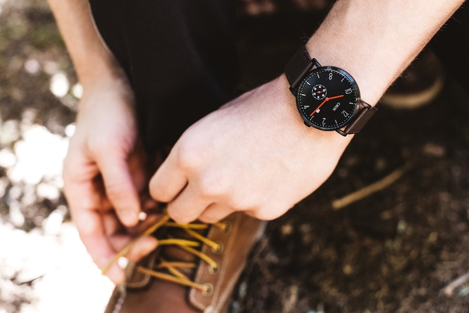 Black Case, Dark Brown Strap