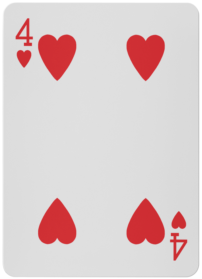 Four of  Hearts - Red Cards