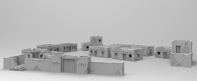 Rural town-set with townwall and destroyed houses