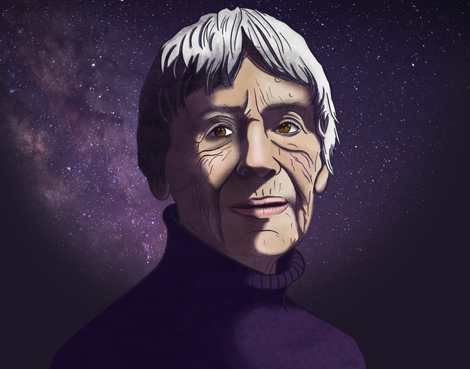Illustrated portrait of Ursula K. Le Guin by Emily Comfort