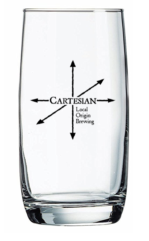 16 oz glass with front logo