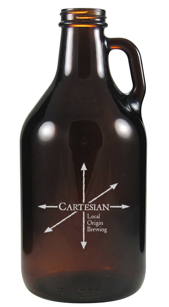 32 oz glass growler with front logo