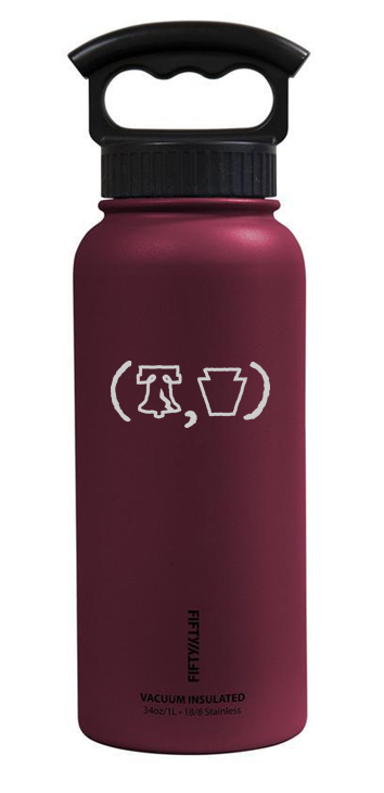 34 oz stainless growler with back logo
