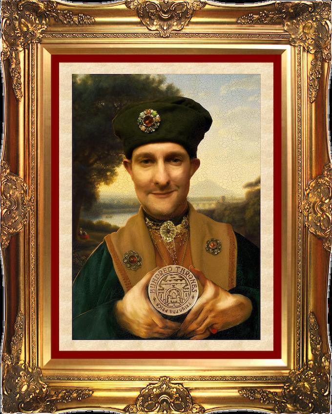 Lorenzo 'La Volpe' von Temeschwar, portrait by Magdalena di Sarvos, on display in the Blood Red Quays Art Gallery of Sarvos