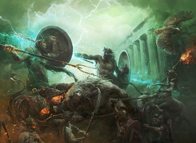 A typical army is made up of one God and their group of fighters. Here, Athena, the Lernean Hydra, Achilles, Odysseus and a group of five hoplites. Illustration by Stefan Kopinski.