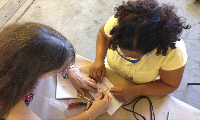 Jeannine Huffman, co-author for Automate Your Ideas, working on an ATtiny85 project with UCB Professor Lanette Jimerson, Program Director of the English Pathway for BE3 (Berkeley Educators for Equity and Excellence)
