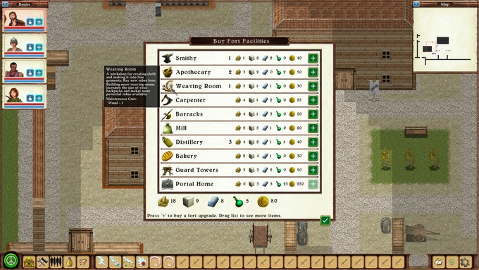 Buy upgrades for your forts. Each one comes with powerful bonuses for your characters.