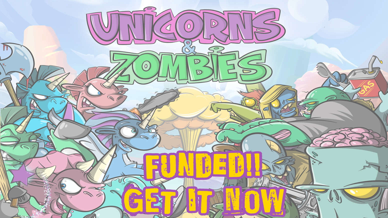 The two fiercest foes, Unicorns and Zombies finally clash! It's an exciting new card game. Get the card game for your next game night!