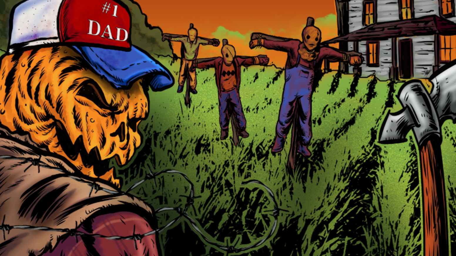 Khakis, combovers, and killer scarecrows collide in a new horror comic from Head On A Stick Productions.