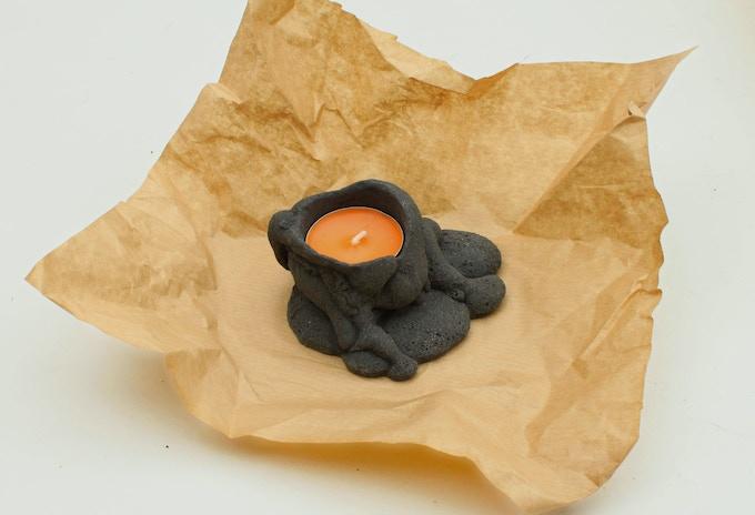 MANTLE - x1 Lava Candelabrum, x1 Candle