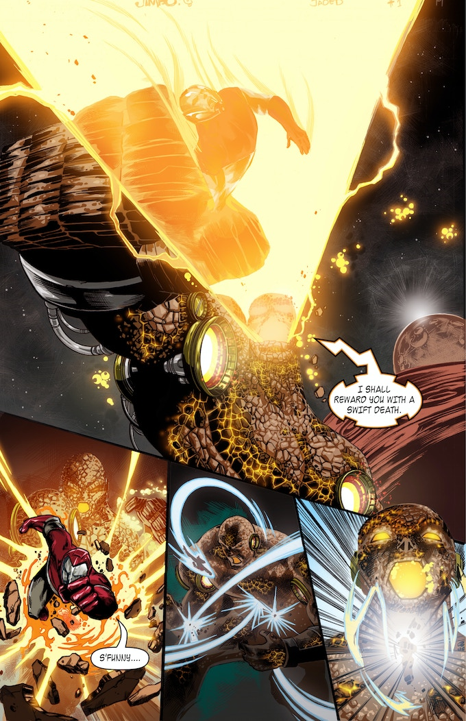 Adam Sovereign fights a cosmic being in Jaded #1 by Jimbo