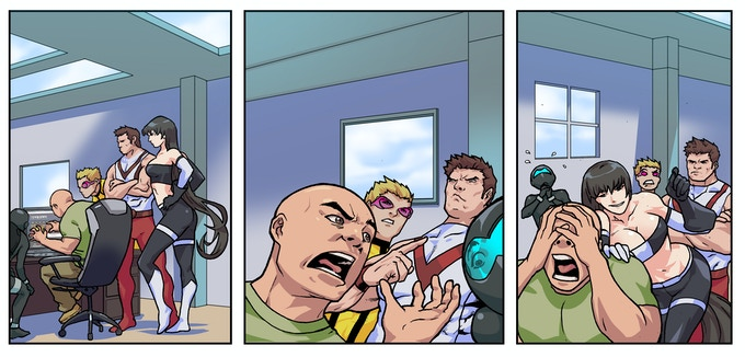 "Jon and the GWA in the ""BEJADED"" comic strip."