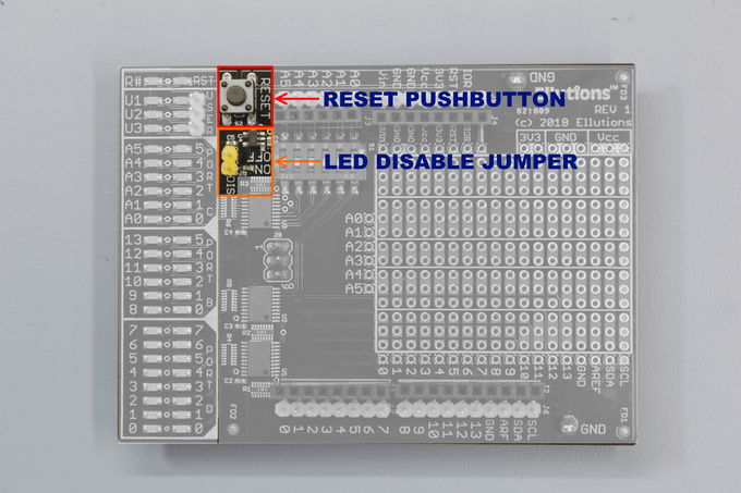 RESET PUSHBUTTON AND LED DISABLE JUMPER