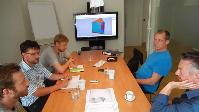 The team during a design review at Braunwagner