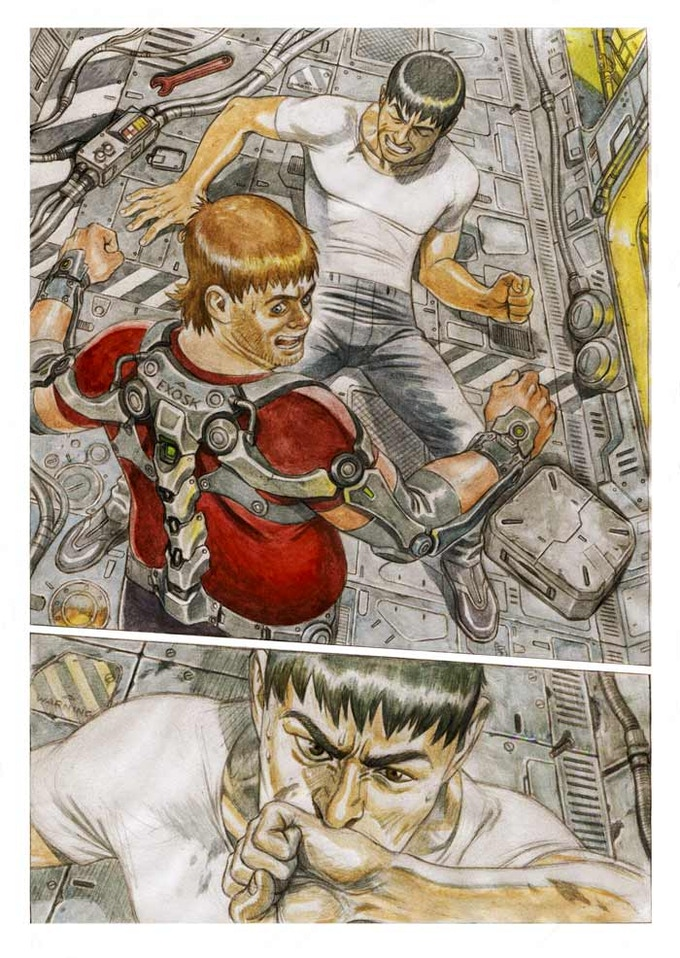 Page from Super Robot Mayhem #2: watercolours