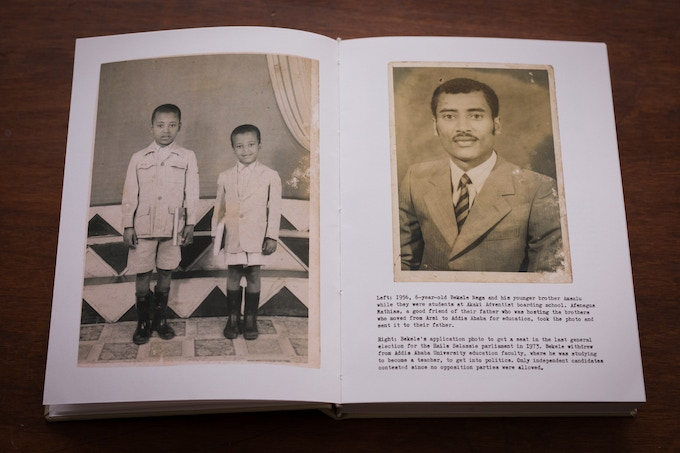 Bekele Nega in 1956 (boy on the left) when he went to the Akaki Adventist boarding school and in 1973 when he applied to get a seat in the last general election of emperor Haile Selassie.