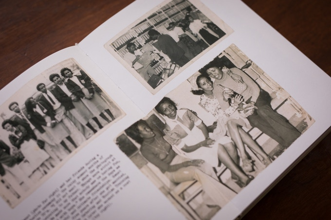 Genet (second from the right) during a celebration in the 60's, graduating in the 80's, and working at Ghion Hotel in the 80's.