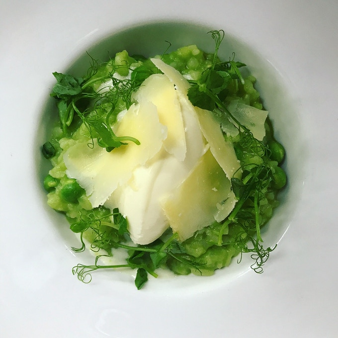 Spring pea and mint risotto