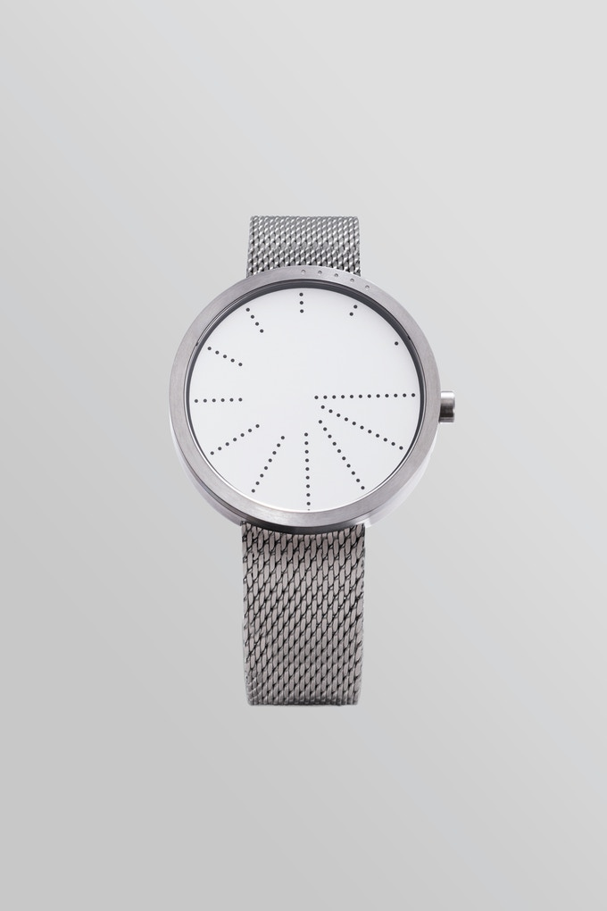 Order—WHITE with silver Milanese mesh bracelet.