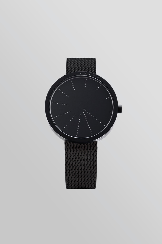 Order—BLACK with black Milanese mesh bracelet.