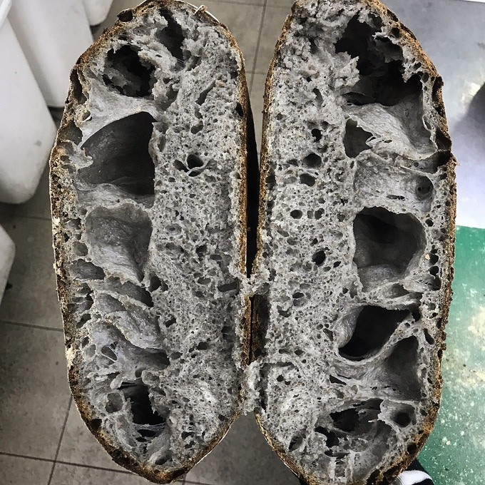 Activated charcoal and stout sourdough