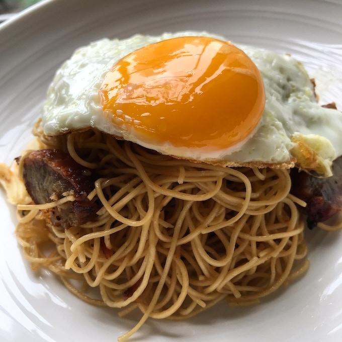Char siu egg fried noodles