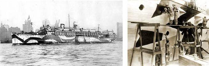 Left: USS Siboney leaving New York Harbor in May 1918. Right: The Women's Reserve Corps of NY demonstrate dazzle in Union Square.