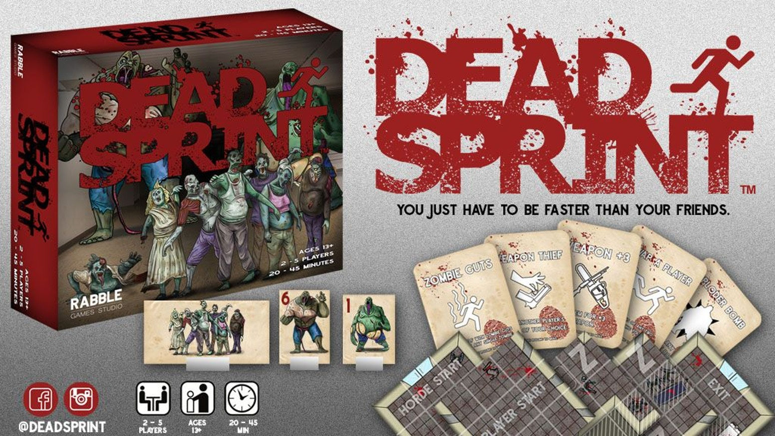 A board game for 2-5 players that need to outrun a horde of the undead! Try to stay ahead on your turn before the horde takes theirs!