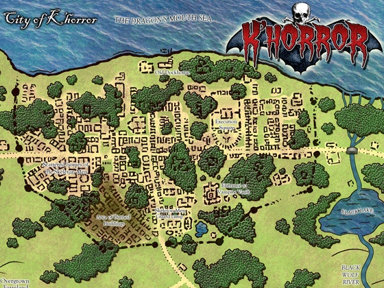 The ruined city of K'Horror - one of the color maps in this book.
