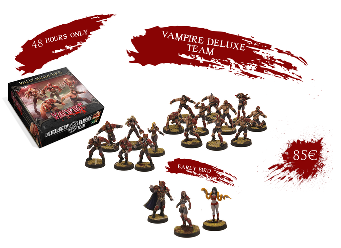 You get 3 free miniatures (Vampire Lord, Vampire Cheerleader and the Kickstarter Exclusive Thrall) if you pledge in the first 48 hours