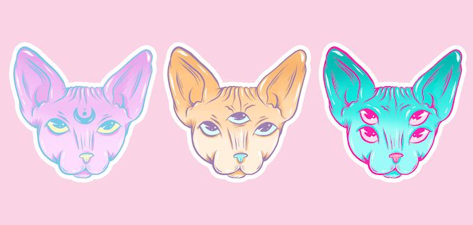 Sphynx Kitty Cult Enamel Pins by Kirsten Noel Designs