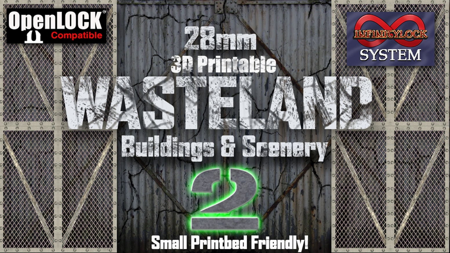 28mm 3D Printable Wasteland #2 Buildings & Scenery - STL - OpenLOCK - Infinitylock