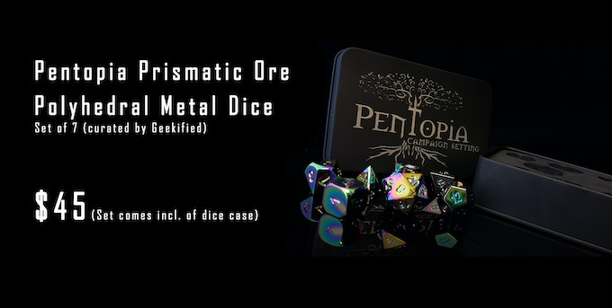 Prismatic Ore Metal Dice & Case etched with the Pentopia logo - $45
