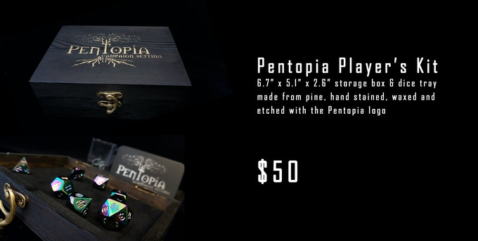 Pentopia Player's Kit artisanal storage box and dice tray - $50
