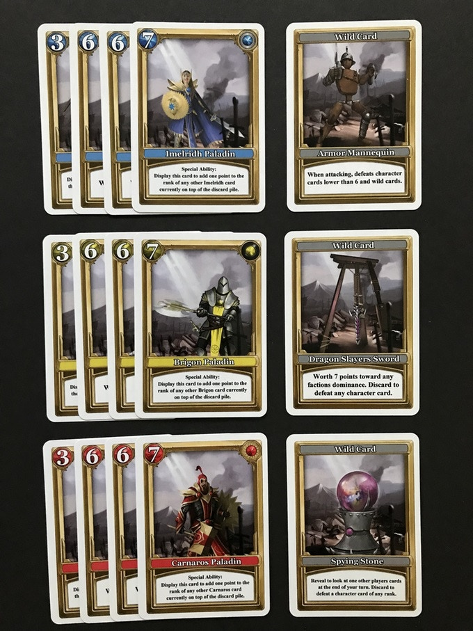 Faction reinforcement cards and wild cards included in the reinforcement expansion.