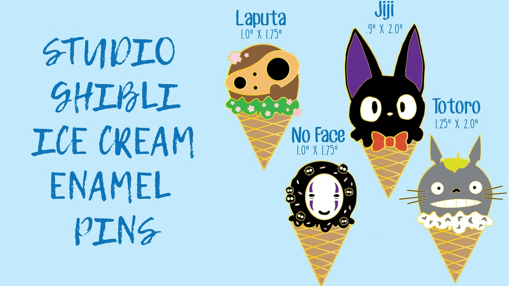 ghilbli inspired ice cream enamel pins by lois gawaran kickstarter