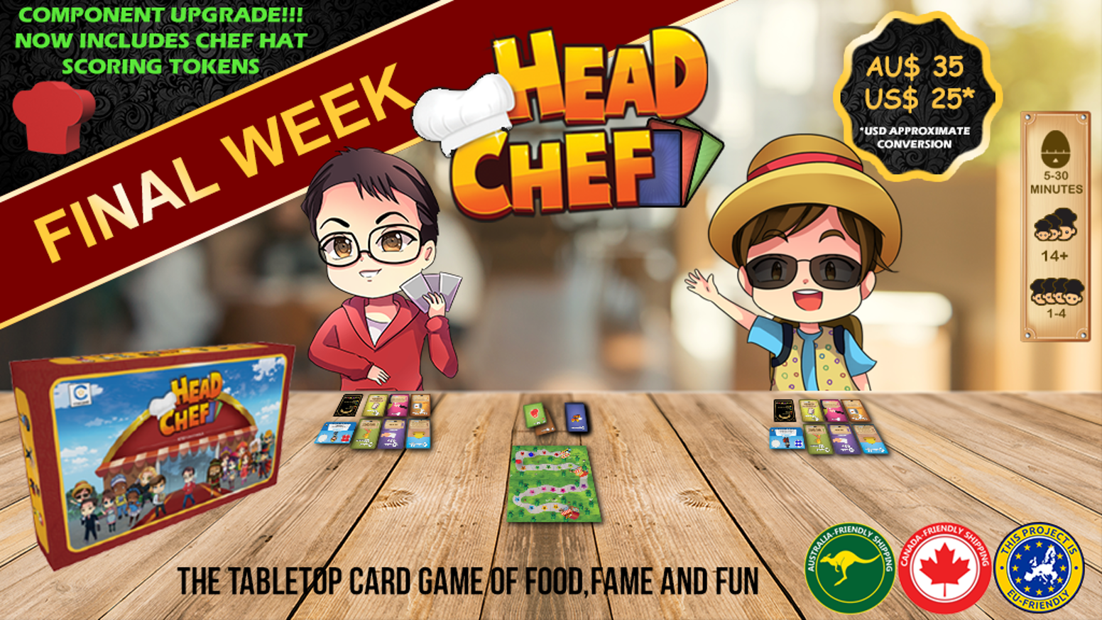 In this tabletop card game for 1-4 hungry players, you will cook food, earn fame and become... Head Chef! Missed you copy ?Purchase a copy on our website before we commence shipping at www.CstarGames.com !
