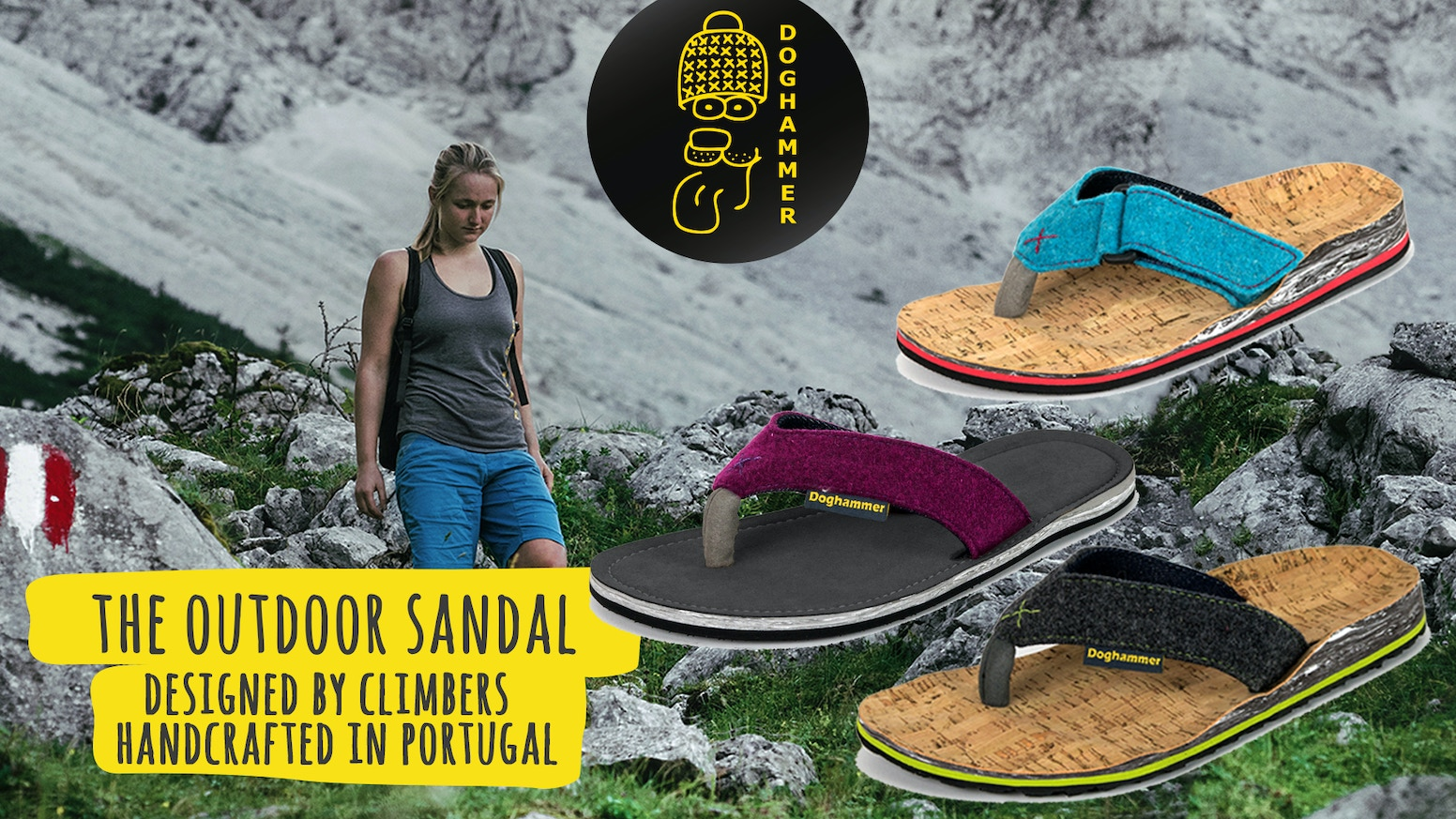 The outdoor shoe - designed by climbers and handcrafted in Portugal is an open toed shoe for travelers, backpackers and nature lovers.