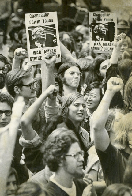 Student protesters at the UW Madison, 1970