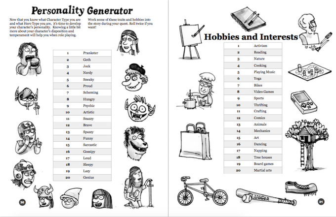 Includes a personality generator to spice up your characters