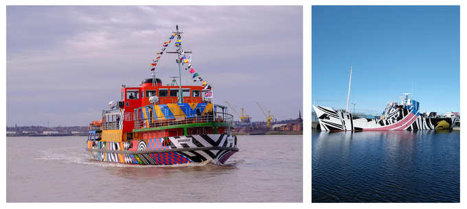 "Contemporary Dazzle Ships: Sir Peter Blake, ""Everybody Razzle Dazzle"", 2015. Photo: Mark McNulty; Ciara Phillips, ""Every Woman"", 2016 Photo: Ross Attenburgh"